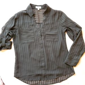 Express Black Striped Sheer Portofino Blouse M